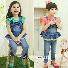 Jarní Dětské oblečení pro děti Dívky Bowknot Rompers s ramenními podvazkové pásy kalhoty 3-9Y