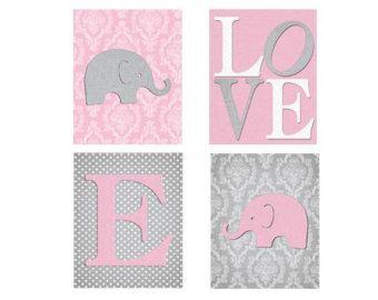 Damask Nursery Decor, Pink Gray Nursery, Elephant Wall Art, Pink Grey Nursery Wall Art, Set of Four Print