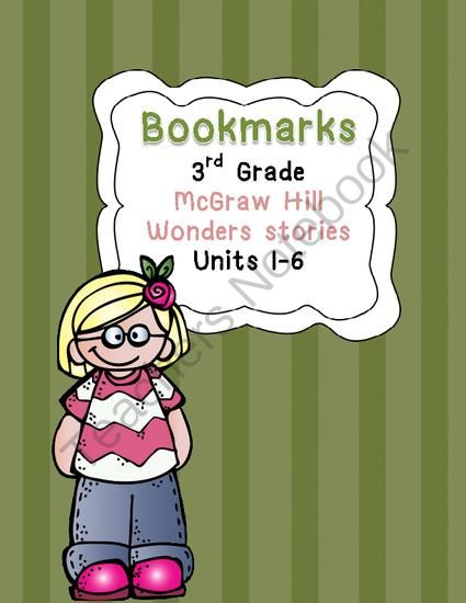 """Bookmarks for McGraw Hill Wonders Grade 3 from Teaching the """"Wright"""" Way on TeachersNotebook.com -  (7 pages)  - Bookmarks for Grade 3 McGraw Hill Wonders reading program. For read-at-night; parent signatures."""