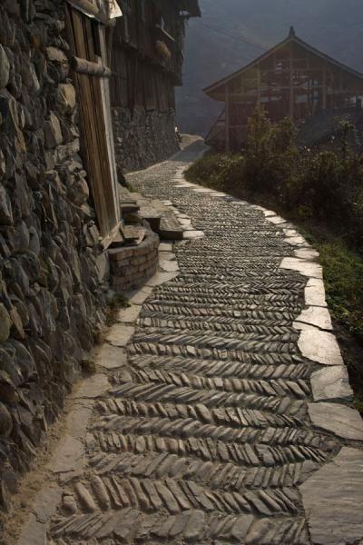 Herringbone Stonework - Xijiang, China http://www.beijinglandscapes.com/china-city-tour.html