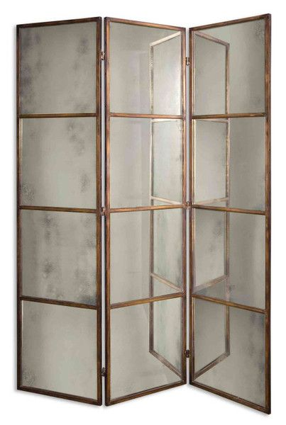 3-Panel Antiqued Gold Mirrored Folding Screen At scenario home.com
