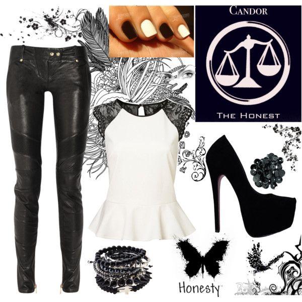 white peplum top with black lace + black pleather jeans + black heels + black/silver/white bracelets + white pearl earrings