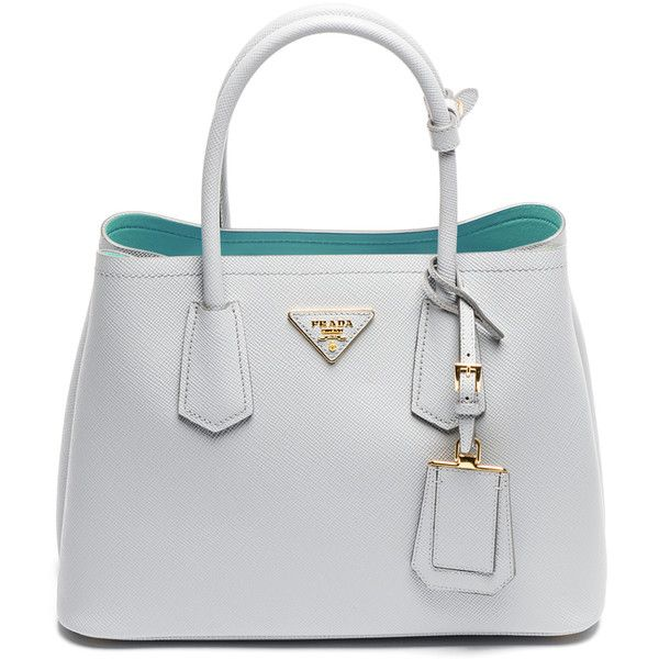 The Stunning Colors of the Prada Double Bag in Saffiano Cuir for Fall... ❤ liked on Polyvore featuring bags, handbags, prada purses, prada, prada bags and prada handbags
