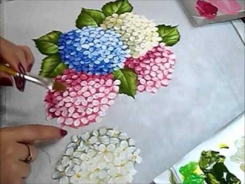 Folha da Hortênsia - Hydrangeas - Pintura em Tecido                                                                                                                                                                                 Mais