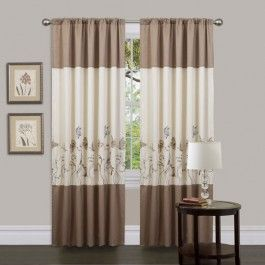Faux Silk With Embroidered Butterfly Design Rod Pocket Slides Onto Find This Pin And More On Living Room Curtains