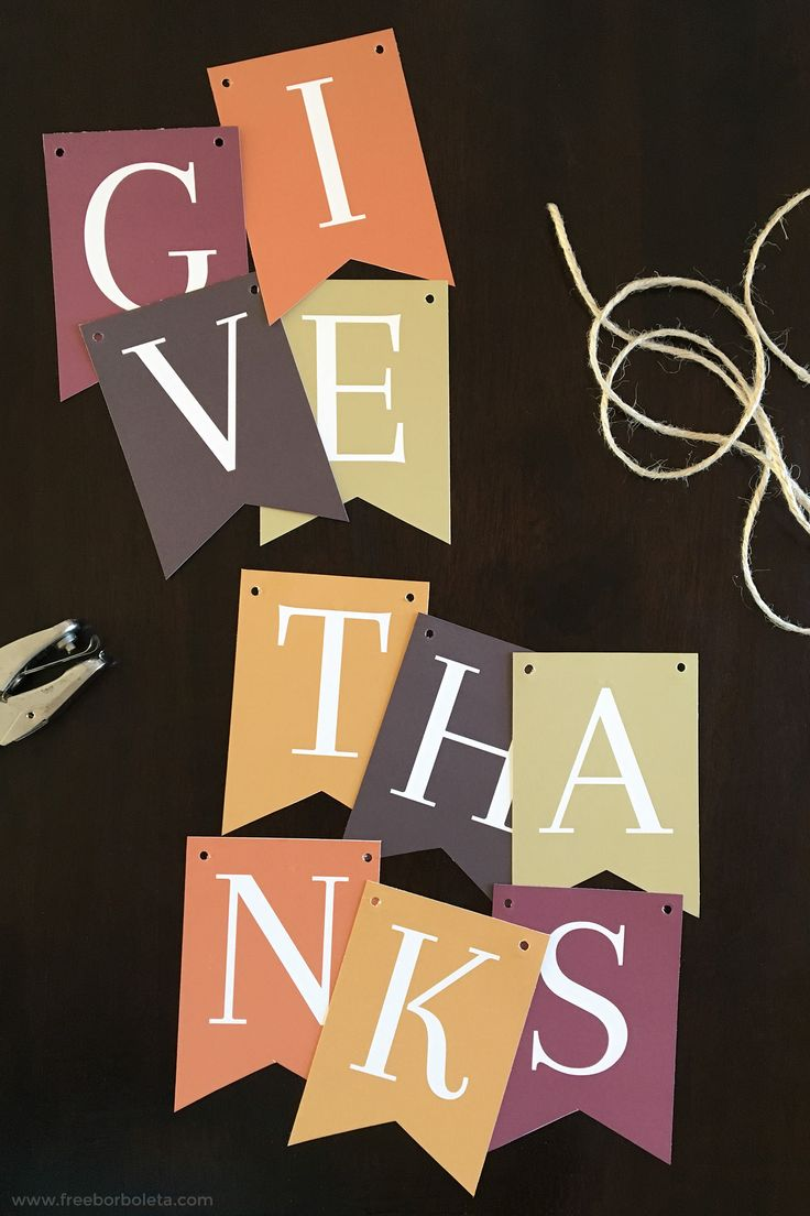 "Who said you can't have Thanksgiving Decorations? This free ""Give Thanks"" printable banner will add a little fall flair to your home!"