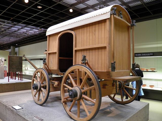 Reconstruction of a Roman traveling carriage richly decorated with bronze fittings, Romisch-Germanisches Museum, Cologne | Flickr - Photo Sharing!