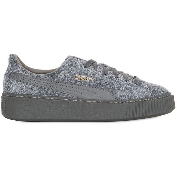 Puma Select Women Suede Elemental Platform Sneakers (8.415 RUB) ❤ liked on Polyvore featuring shoes, sneakers, steel grey, platform sneakers, platform shoes, suede shoes, puma trainers and creeper shoes
