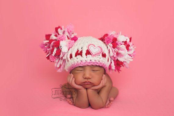 Baby Girl Hat Valentine Hat Newborn Baby Girl by JerribeccaHats2, $24.99