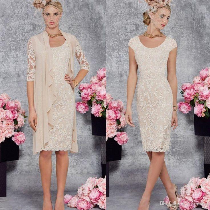 Ronald Joyce 2017 Full Lace Mother Of Bride Dresses Knee Length Scoop Neck Mothers Dress Short