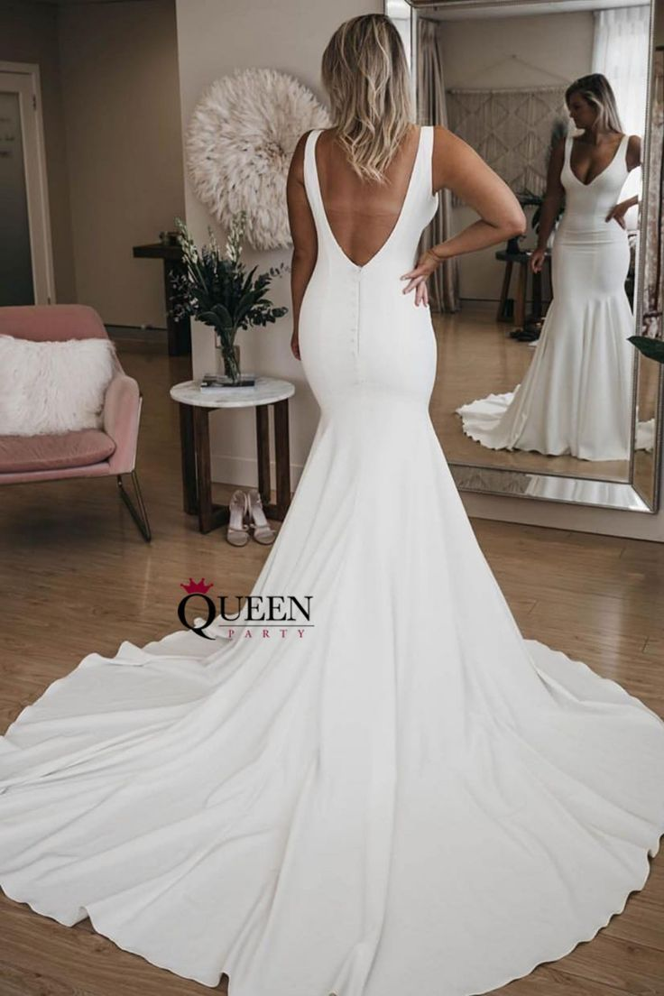 Elegant Ivory V Neck Mermaid Soft Satin Wedding Dress Evening Gown With Long Train From Q In 2021 Satin Mermaid Wedding Dress Long Train Wedding Dress Backless Wedding [ 1104 x 736 Pixel ]