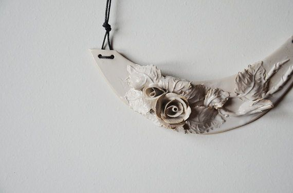 Stoneware Necklace with roses  - Roses Necklace - Statement Necklace