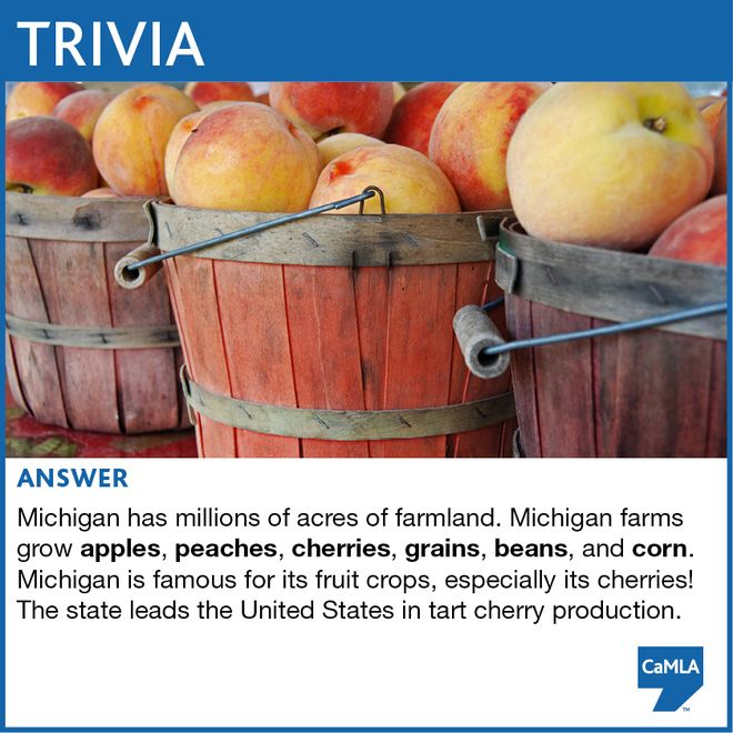 The trivia question was: CaMLA is based in Michigan, in the United States. Can you name some crops that are grown in Michigan? (Hint: you can find at least one answer in another CaMLA Facebook post.)