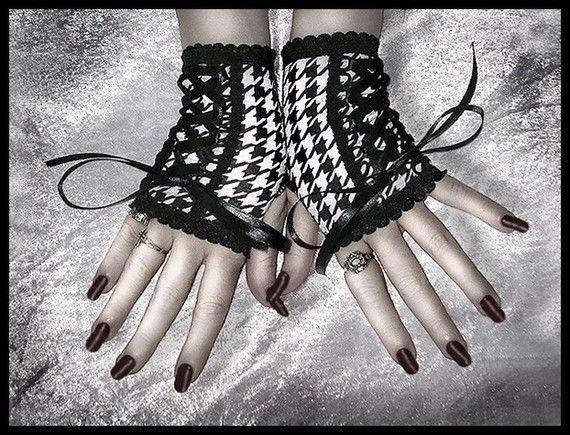 Hollow Hills Corset Gevetert omhoog Vingerloze handschoenen - kleine zwarte & witte Houndstooth - EGL Lolita gotische donkere Goth Ska Emo hoepel Hooping stedelijke