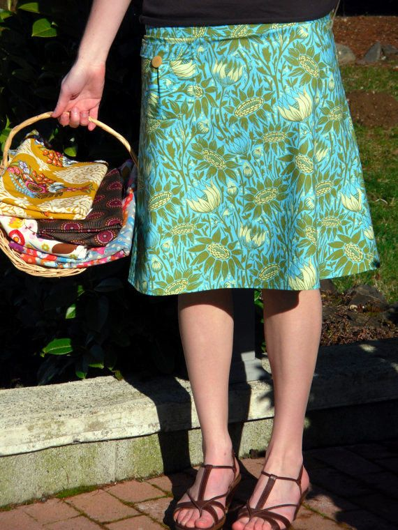 Women's A Line skirt bLuE aNd GrEEn SkiRt by SewingBySelena, $55.00