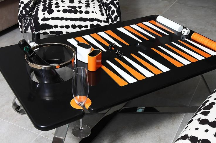 Deluxe Backgammon Table from The Orange Line - http://upscalelivingmag.com/deluxe-backgammon-table-orange-line/