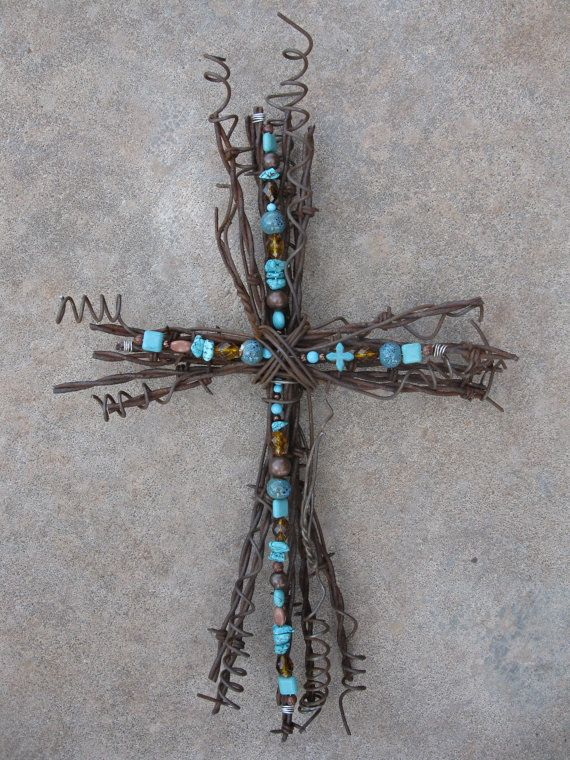 Tulsa Turquoise Rustic Barbed Wire Cross by TheCowboysCloset, $59.00