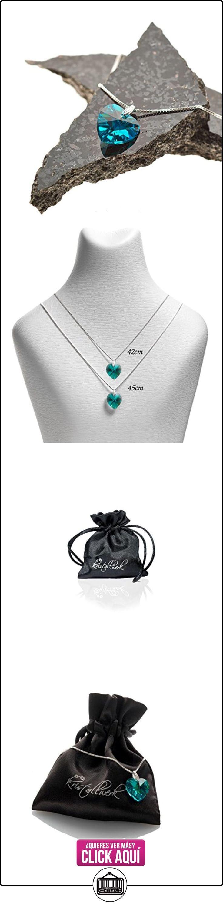 Cadena de plata 925plata con 14mm Swarovski® Elements Corazón Colgante, color Blue Zircon  ✿ Joyas para mujer - Las mejores ofertas ✿ ▬► Ver oferta: http://comprar.io/goto/B01BYK0AI6