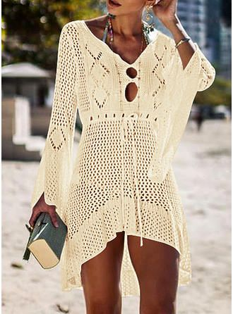 VERYVOGA Solid Color V-neck Sexy Cover-ups Swimsuits 1