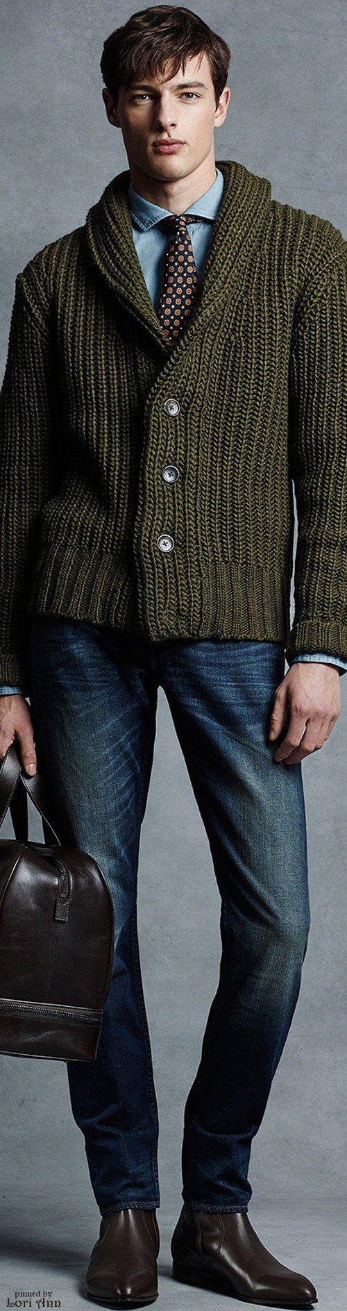 Michael Kors Fall 2015 Menswear | Men's Fashion | Menswear | Business Casual | Cardigan, Tie and Jeans | Moda Masculina | Shop at designerclothingfans.com