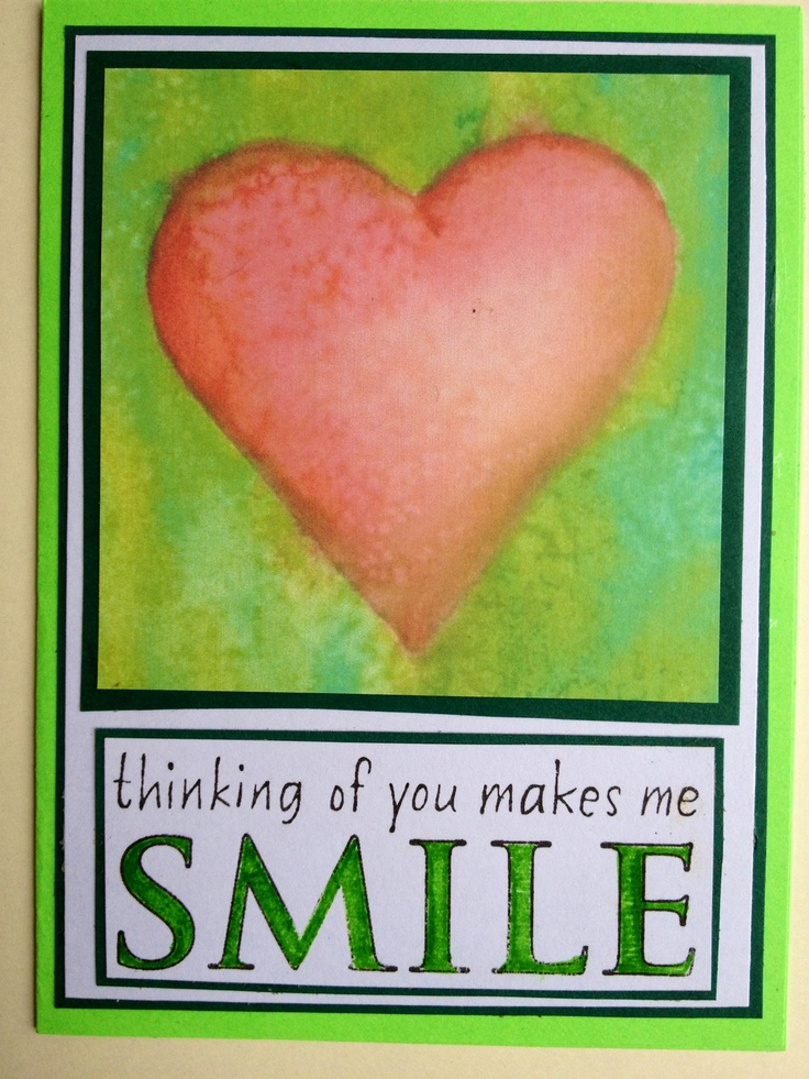 Painted Watercolored heart Thinking of you makes me Smile ...