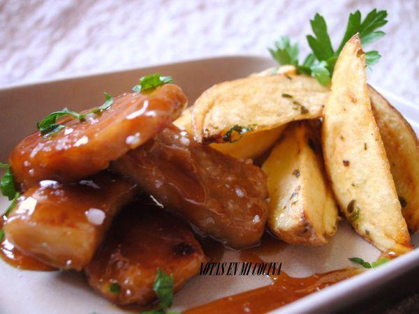 Receta Plato : Cerdo caramelizado con patatas deluxe por LorenaS