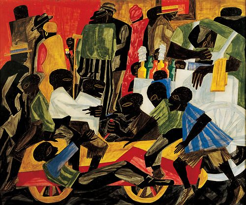 netlex:  Jacob Lawrence (American, 1917-2000), Summer Street Scene in Harlem (1948). Marion Stratton Gould Fund  Most of my work depicts events from the many Harlems which exist throughout the United States. This is my genre… the happiness, tragedies, and the sorrows of mankind as realized in the teeming black ghetto. — Jacob Lawrence  The Jacob and Gwen Knight Lawrence virtual resource center