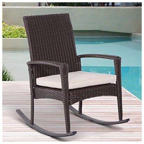 Rattan Rocking Chair Wicker Rattan Bistro Seat Patio Balcony Chair W/  Cushion