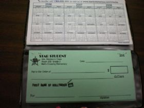 Behavior Management 4th grade+...kiddos keep a checkbook starting with a certain $ amount and pay fines for responsibilities they do not complete or other unacceptable actions...at the end of each season you can take their balance and they get to spend it on whatever they'd like :) I love it!! Teaches so many different life skills! For PBIS they could earn money instead of losing it