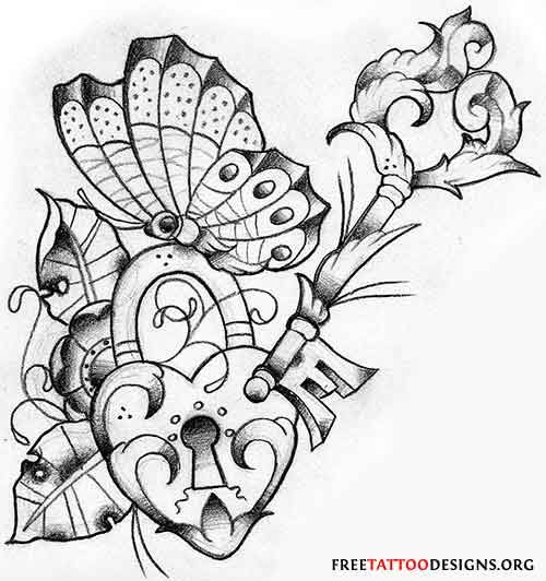 Butterfly tattoo with a heart and key
