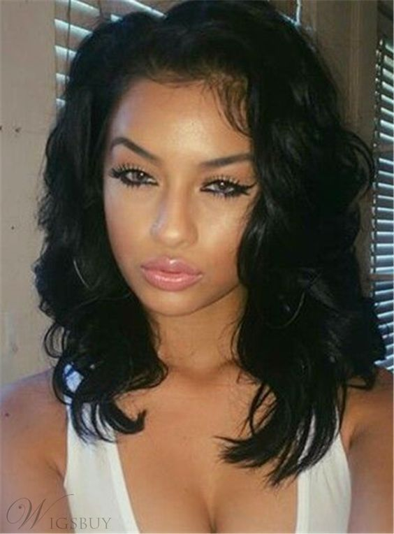 Shoulder-length Hair Elastic Natural Sexy Deep Wavy Synthetic Lace Front  African American Wigs 14 Inches abd60a8232