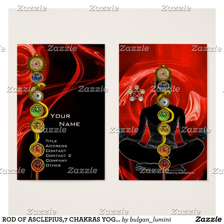ROD OF ASCLEPIUS,7 CHAKRAS YOGA LOTUS POSE Red Business Card #medical #healing #healer #energy #holistic #meditation