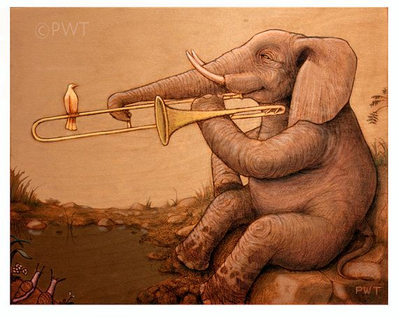 Elephant on Trombone. YES! Again, wa, not for the wedding, for life