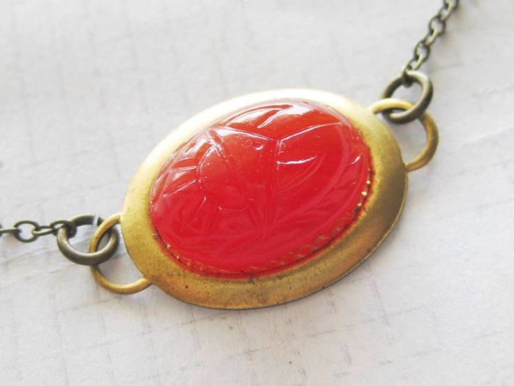 Vintage red glass Scarab on Vintage brass setting Necklace