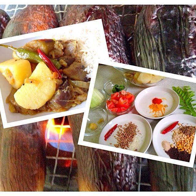 カレーリーフ収穫で、久しぶりの南インド料理! - 31件のもぐもぐ - 焼きなすとじゃがいものタマリンドカレー by takayoshi