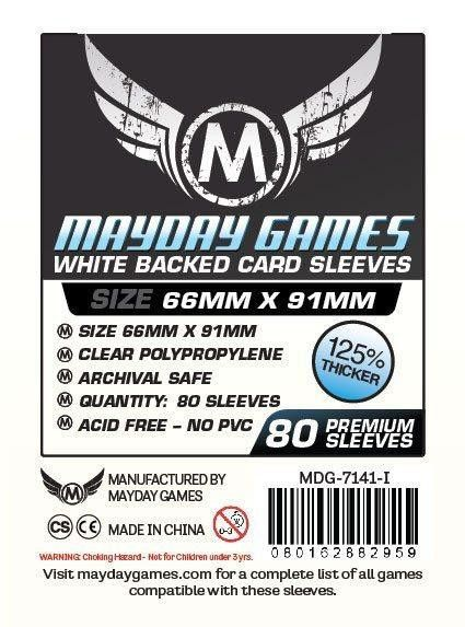 PREMIUM Mayday 63.5 x 88mm White Backed Card Sleeves (set of 80)
