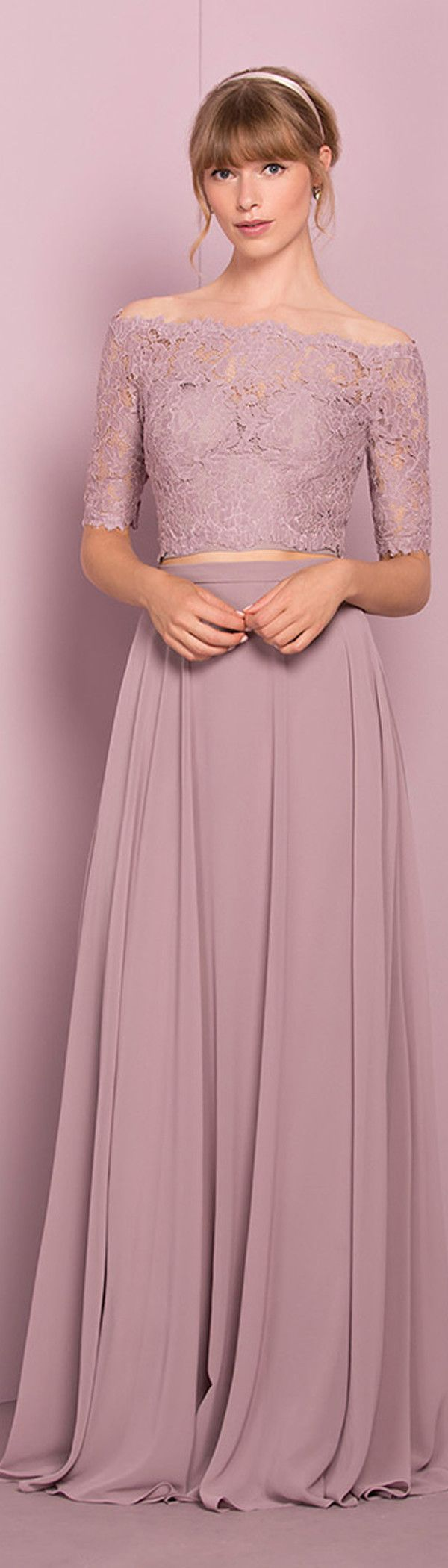 Marvelous Lace & Chiffon Off-the-shoulder Neckline Two-piece A-line Bridesmaid Dress