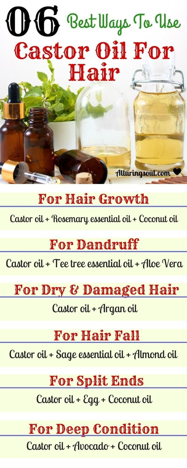 Castor oil is best for hair growth and other hair problems like dry, frizzy hair, split ends and dandruff because of essential nutrients present in it which make hair healthy and strong. #HairLossRemediesNatural #Besthairgrowthtip&products