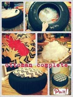 Reciclaje de caucho para realizar mueble otomana / DIY