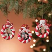 Set of 3 Peppermint Candy Red White Striped Snowman Christmas Tree Photo Picture Frame Ornaments | Father Christmas on Christmas.com | The OFFICIAL Site of Christmas