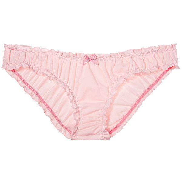 Victoria's Secret Ruffle Bikini Panty ($11) ❤ liked on Polyvore featuring intimates, panties, ruffle panties, flutter bikini, flutter panties, bow bikini and print bikini
