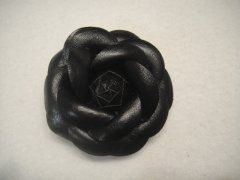 Leather Look Flower Brooch clip - Black