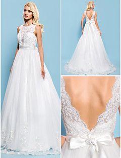 Vestido de Noiva Trapézio/Baile Canoa Cauda Corte (Tule)