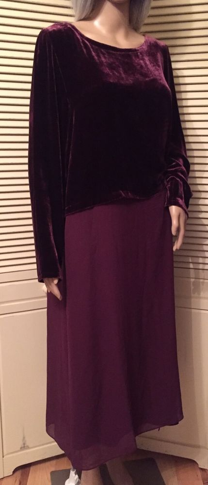 Eileen Fisher Size XS Raisinette Silk Velvet Ballet Neck Duster Dress NWT  #EileenFisher #DusterSheath #Versatile