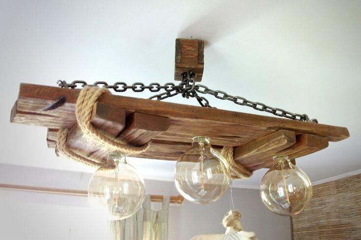 Kronleuchter - Deckenleuchte aus altem Holz, Jute Seil,Stahlkette - ein Designerstück von woodslamp bei DaWanda