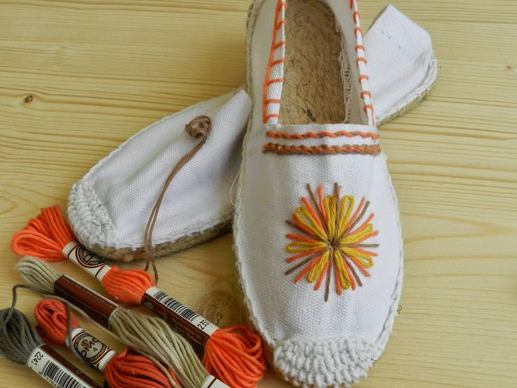 Result image for canvas shoes, hand-embroidered