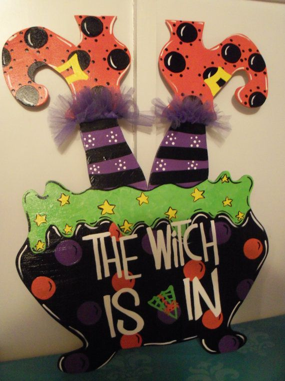 """Whimsical Wooden """"Witches Cauldron"""" door hanger or yard sign on Etsy, $55.00"""