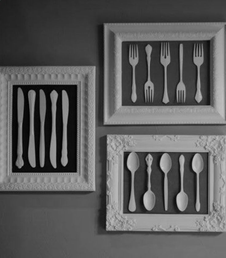 Easy  Creative Decor Ideas - Frames Old Cutlery and White Spray - Click Pic for 38 DIY Home Decor Ideas on a Budget http://www.diyncrafts.com/4478/home/40-genius-rustic-home-decor-ideas-can-build