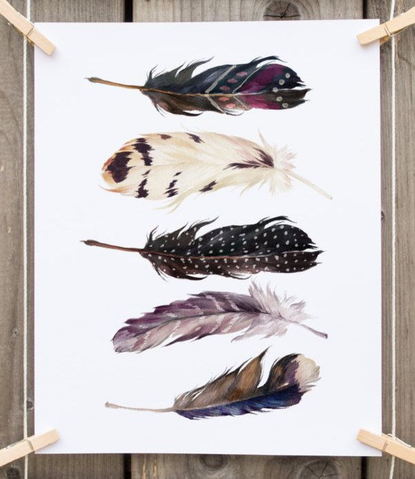 Beautiful INSTANT DOWNLOAD: Watercolor Feathers For Bohemian Wall Decor ***Get Free  Prints, Part 27