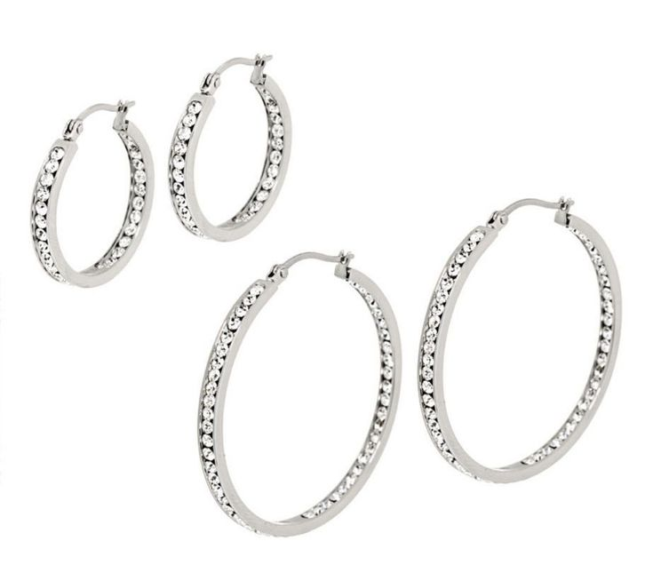 """Qvc Inside Out Round Cut Hoop Earrings Stainless Steel By Design 1"""" Or 1 1/2"""""""